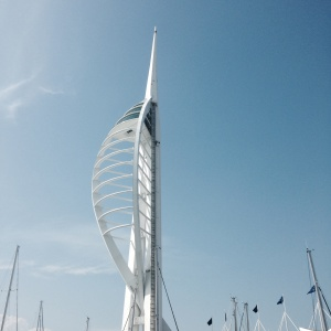 The Spinnaker Tower from the bottom