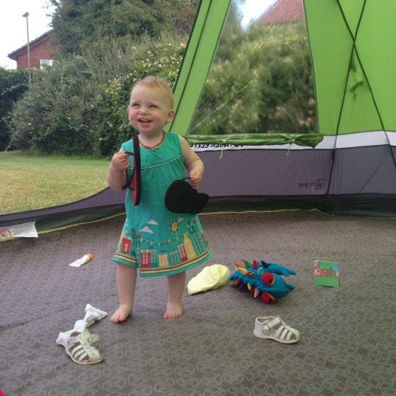 Playing in the tent