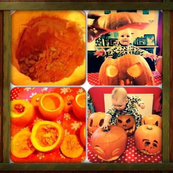 Baby Isabella Carving Pumpkins