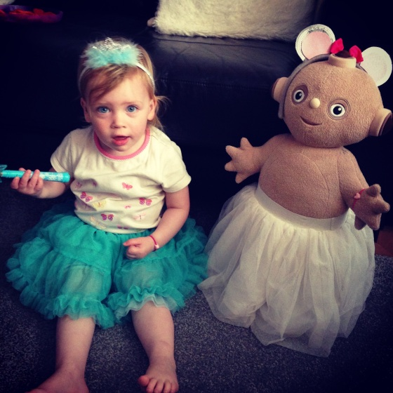 Bella dancing in tutu with Makka Pakka