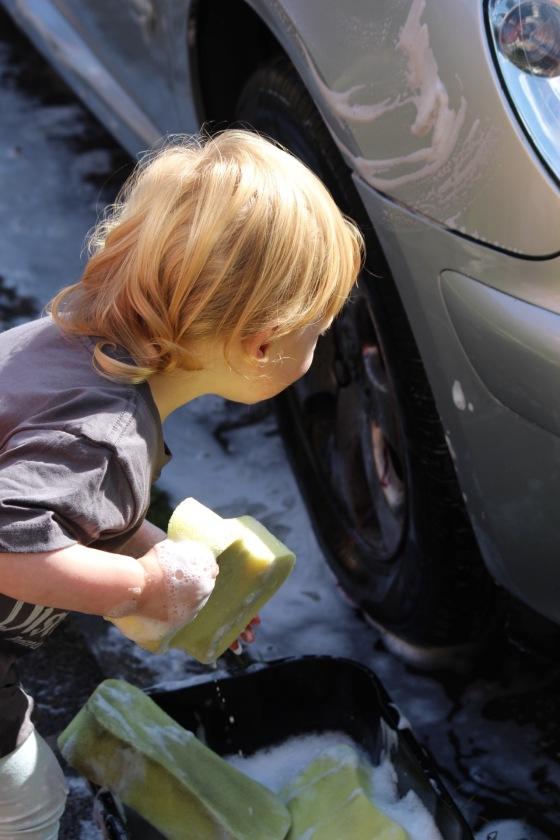 Bella washing a car