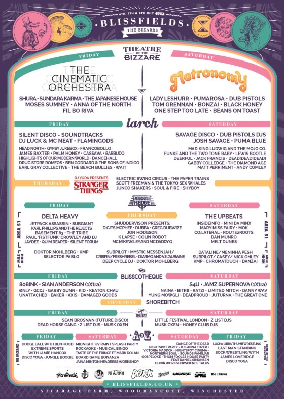 Blissfields 2017 Line-up