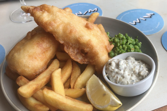 Fish and Chips at SWIM, Lyme Regis